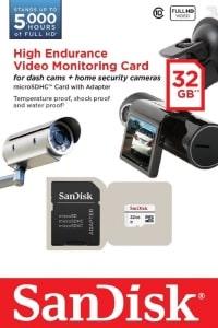בירידת מחיר: כרטיס מומלץ ועמיד למצלמות רכב ואבטחה –SanDisk High Endurance – במחיר מעולה: כ-46 ₪ [דגם אחר בארץ עולה פי-3!]