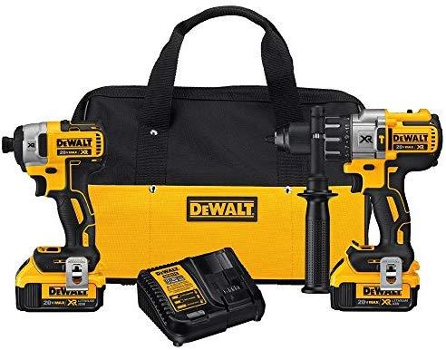 DEWALT 20V MAX XR Brushless Impact Driver and Hammer Drill Combo Kit, Premium 4.0Ah (DCK299M2) – –