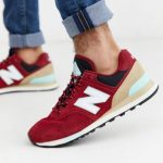 New Balance 574 trainers in red
