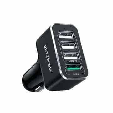 BlitzWolf® BW-SD3 50W – מטען הרכב הכי מומלץ! עם 4 פורטים וQC + כבל USB-C עם מתאם מיקרו USB במתנה רק ב$8.99