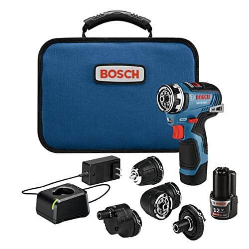 """האולר השוויצרי של הכלים! Bosch GSR12V Max EC Brushless Flexiclick – מברגה/מקדחה 5 באחד! עם 5 ראשים מתחלפים, 2 סוללות, מטען ותיק רק עם כפל קופונים והנחות רק ב881ש""""ח!"""