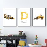 US $2.43 53% OFF|Personalized Boy's Name Custom Poster Baby Dump Truck Excavator Canvas Painting Nursery Prints Wall Pictures For Kids Room|Painting & Calligraphy|