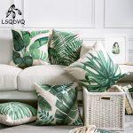 US $2.75 43% OFF|Tropical Green Plant Palm Leaf Leaves Monstera Printed Pillow Cushion Cover For Sofa Car Home Almofadas 45x45cm|Cushion Cover|