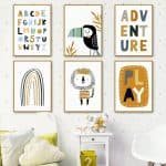 US $2.83 50% OFF|The Alphabet Rainbow Gate Lion Bird Wall Art Canvas Painting Nordic Posters And Prints Cartoon Wall Pictures For Kids Room Decor|Painting & Calligraphy|