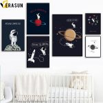 US $2.87 54% OFF|Cartoon Planet Star Rocket Spaceman Space Travel Wall Art Canvas Painting Nordic Posters And Prints Wall Picture Kids Room Decor|nordic poster|posters and printscanvas painting