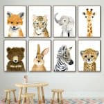 US $2.97 46% OFF|Elephant Zebra Fox Rabbit Bear Owl Giraffe Wall Art Canvas Painting Nordic Posters And Prints Wall Pictures Baby Kids Room Decor|Painting & Calligraphy|