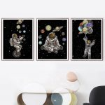 US $3.02 45% OFF|Space Man Planet Astronaut Star Abstract Wall Art Canvas Painting Nordic Posters And Prints Wall Pictures For Living Room Decor|Painting & Calligraphy|
