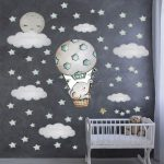 US $8.11 47% OFF|Large Size 100cmx100cm Wall Stickers Cute Baby Elephant on the Hot Air Balloon Wall Decals Watercolor Stars for Baby Nursery|Wall Stickers|