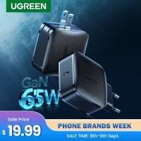 מטען מהיר וקומפקטי – UGREEN 65W GaN עם QC3.0/4.0 וUSB-C PD רק ב18.93$