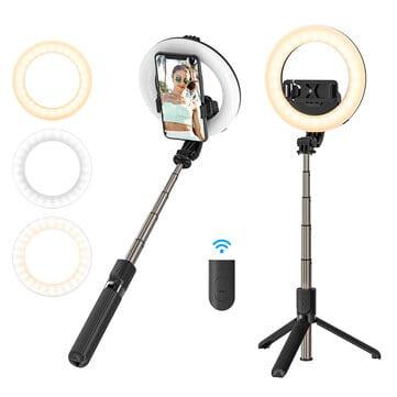 BlitzWolf® BW-BS8 Pro – מקל סלפי עם שלט בלוטות' וטבעת תאורה – רק ב$19.99!