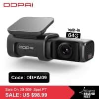 DDPai Dash Cam Mini5 4K – מצלמת רכב איכותית במיוחד עם 4K, זיכרון מובנה 64GB, GPS וWIFI 5GHZ!